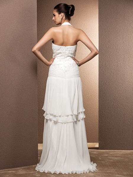 Sheath \ Column Wedding Dresses Halter Neck Floor Length Chiffon Sleeveless_2