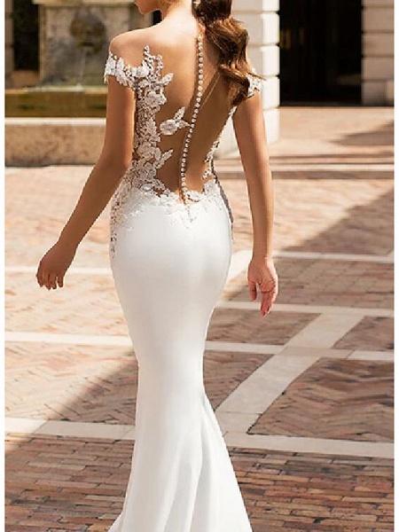 Mermaid \ Trumpet Jewel Neck Court Train Lace Satin Cap Sleeve Sexy See-Through Wedding Dresses_3
