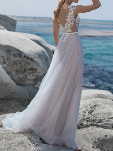 A-Line Wedding Dresses Jewel Neck Sweep \ Brush Train Lace Tulle Short Sleeve Beach Sexy See-Through_3