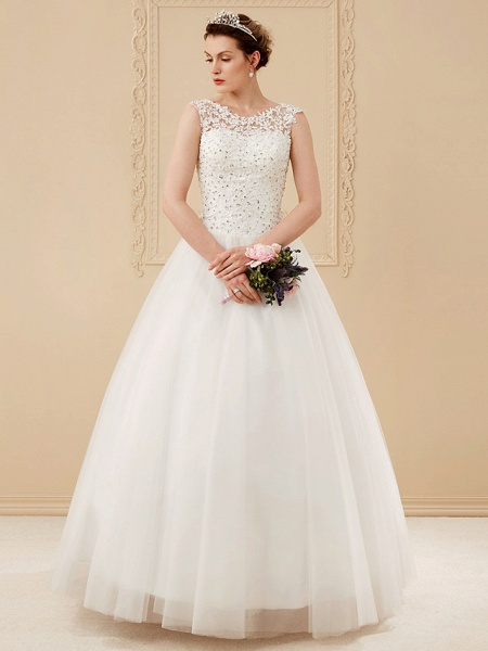Ball Gown Wedding Dresses Scoop Neck Floor Length Beaded Lace Regular Straps Romantic Illusion Detail_3