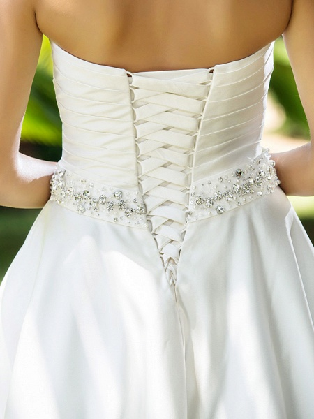 A-Line Wedding Dresses Sweetheart Neckline Knee Length Satin Strapless Country Beach Little White Dress Plus Size_8