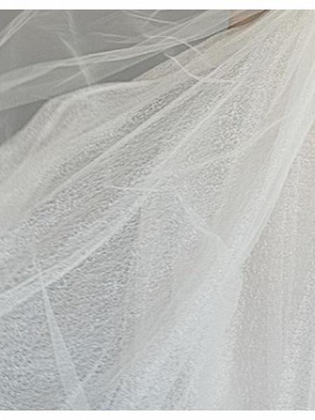 A-Line Wedding Dresses Off Shoulder Sweep \ Brush Train Lace Tulle Short Sleeve_2