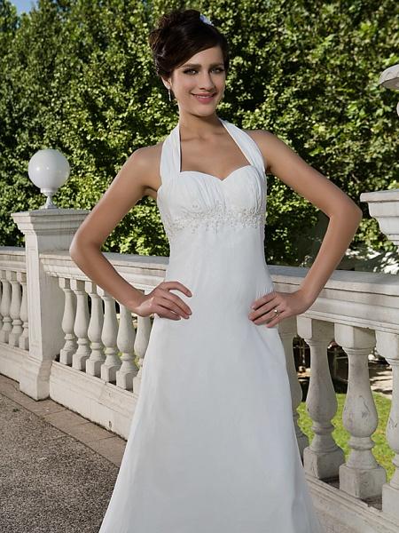 Sheath \ Column Wedding Dresses Halter Neck Sweetheart Neckline Asymmetrical Chiffon Sleeveless_5