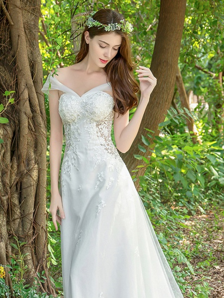 A-Line Wedding Dresses V Neck Court Train Lace Tulle Sleeveless_7