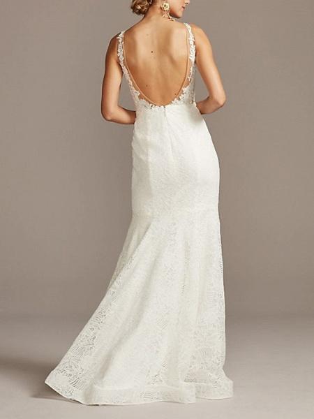 Mermaid \ Trumpet Wedding Dresses V Neck Sweep \ Brush Train Lace Tulle Sleeveless Romantic_2