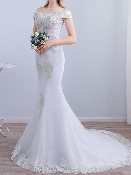 Mermaid \ Trumpet Wedding Dresses Off Shoulder Sweep \ Brush Train Tulle Short Sleeve Beach_1
