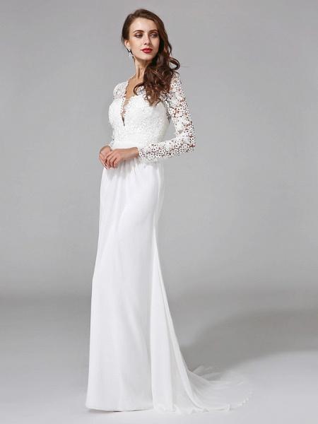 Sheath \ Column Wedding Dresses V Neck Sweep \ Brush Train Chiffon Floral Lace Long Sleeve Romantic Boho Illusion Sleeve_6