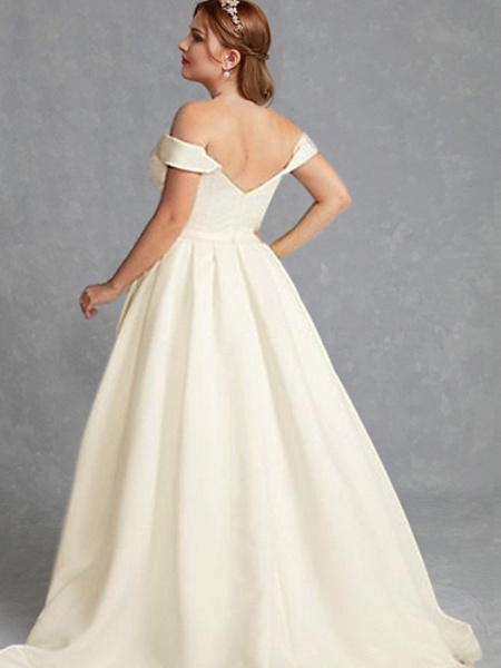 A-Line Wedding Dresses Off Shoulder Floor Length Charmeuse Regular Straps Formal Plus Size Elegant_2