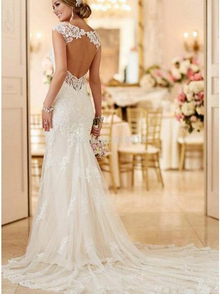 Mermaid \ Trumpet Wedding Dresses V Neck Sweep \ Brush Train Lace Spaghetti Strap Mordern Sexy Backless_5