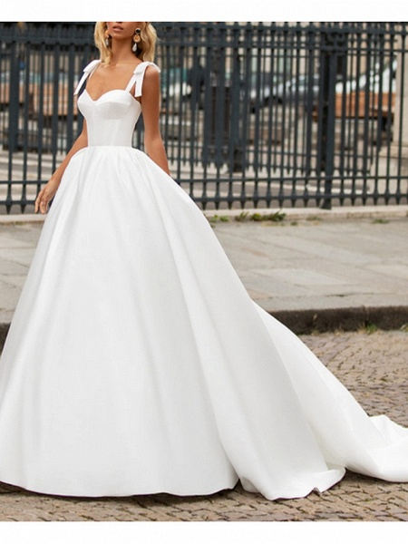 A-Line Wedding Dresses Sweetheart Neckline Sweep \ Brush Train Satin Spaghetti Strap Plus Size_2