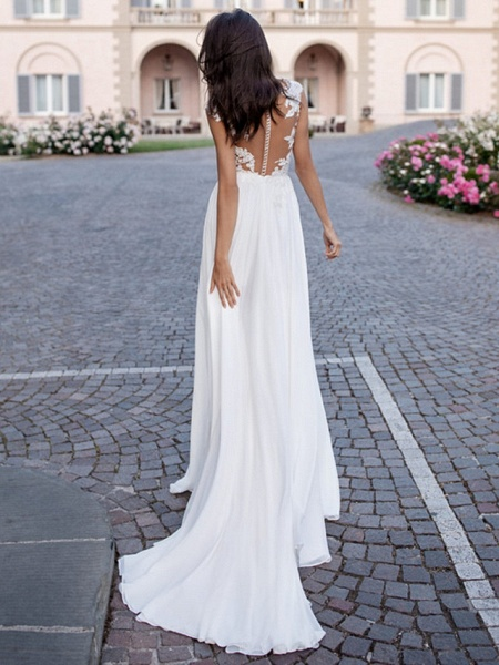 A-Line Wedding Dresses V Neck Sweep \ Brush Train Chiffon Lace Regular Straps Beach Sexy Illusion Detail Backless_2