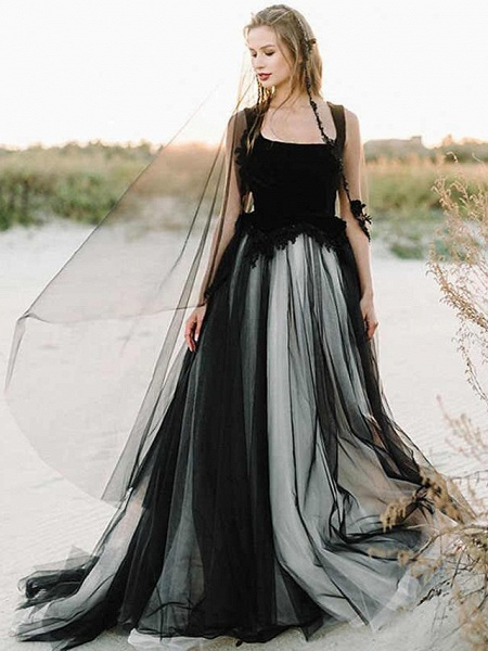 A-Line Wedding Dresses Scoop Neck Court Train Lace Tulle Regular Straps Black Modern_1