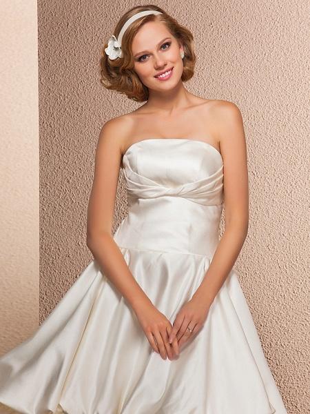 Ball Gown A-Line Wedding Dresses Strapless Knee Length Satin Sleeveless Little White Dress_5