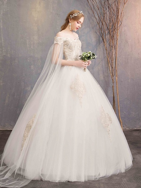Ball Gown Wedding Dresses Off Shoulder Maxi Tulle Lace Over Satin Short Sleeve Glamorous Illusion Detail_5