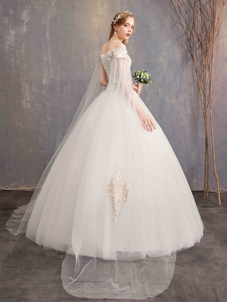 Ball Gown Wedding Dresses Off Shoulder Maxi Tulle Lace Over Satin Short Sleeve Glamorous Illusion Detail_6