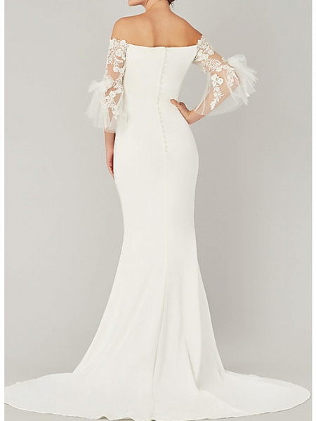 Mermaid \ Trumpet Wedding Dresses Off Shoulder Sweep \ Brush Train Tulle Stretch Satin 3\4 Length Sleeve Simple Illusion Sleeve_2