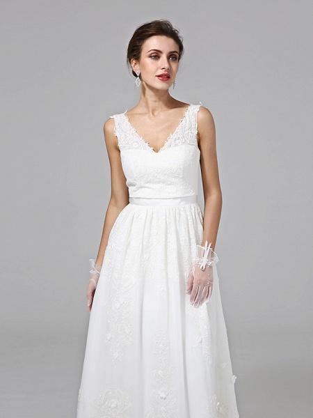 A-Line Wedding Dresses V Neck Floor Length Lace Regular Straps Simple Illusion Detail_7