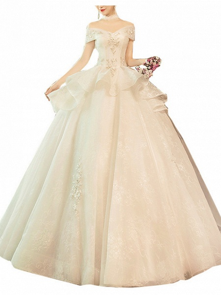 Ball Gown Wedding Dresses Off Shoulder Sweep \ Brush Train Lace Tulle Short Sleeve Glamorous Modern_3
