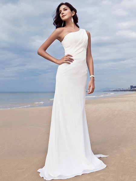 Sheath \ Column Wedding Dresses One Shoulder Sweep \ Brush Train Chiffon Regular Straps Simple Plus Size_3