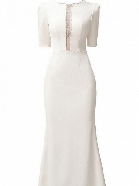 Mermaid \ Trumpet Wedding Dresses Jewel Neck Sweep \ Brush Train Satin Short Sleeve Formal Vintage Plus Size_2