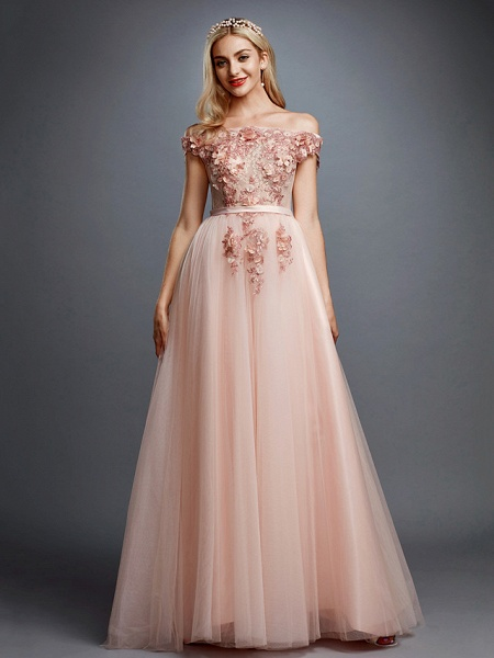 A-Line Floral Pink Prom Formal Evening Dress Off Shoulder Sleeveless Sweep \ Brush Train Tulle Over Lace_3