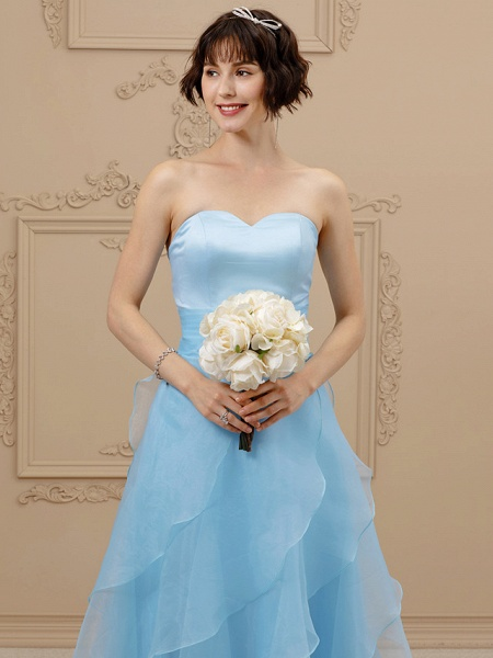 A-Line Wedding Dresses Sweetheart Neckline Floor Length Organza Satin Strapless Simple Plus Size Backless_4