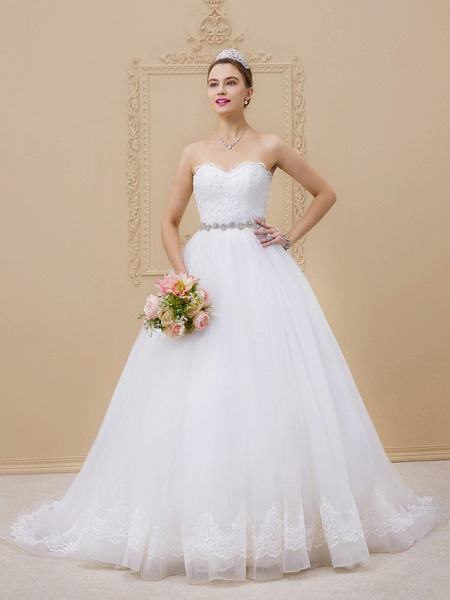 Ball Gown Sweetheart Neckline Chapel Train Tulle Lace Over Tulle Strapless Glamorous Sparkle & Shine Wedding Dresses_1