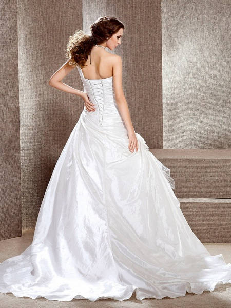 Princess A-Line Wedding Dresses One Shoulder Cathedral Train Taffeta Sleeveless_4