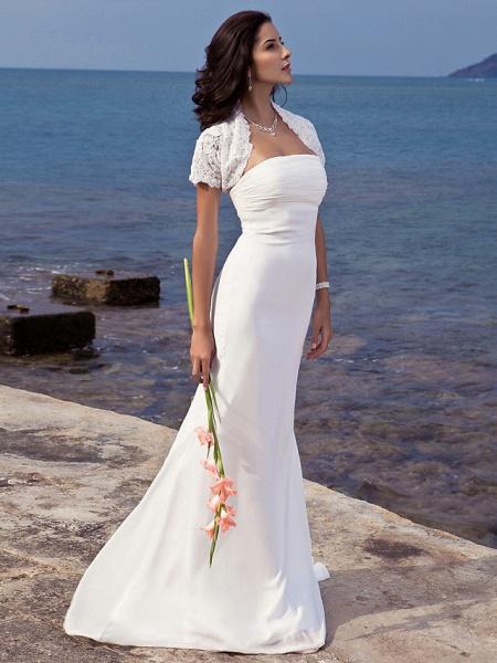 Mermaid \ Trumpet Wedding Dresses Strapless Sweep \ Brush Train Chiffon Short Sleeve Vintage Separate Bodies_3