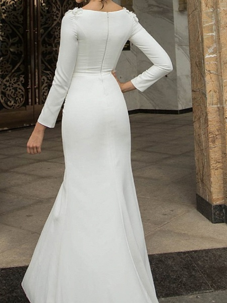 Mermaid \ Trumpet Wedding Dresses Off Shoulder Short \ Mini Polyester Long Sleeve Country Plus Size_2