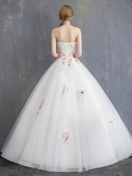 A-Line Wedding Dresses Strapless Maxi Lace Organza Tulle Strapless Country Romantic Sparkle & Shine_10