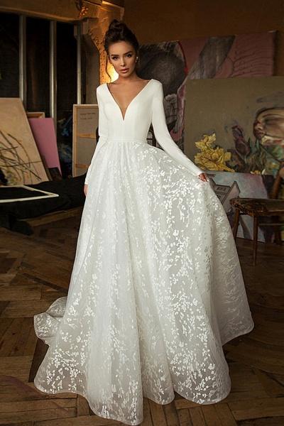 Long Sleeve V-neck Boho Bridal Gowns Satin Backless Lace Wedding Dress_1