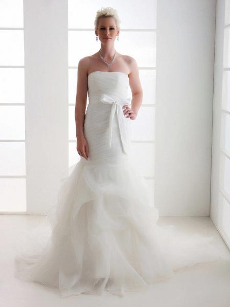 Mermaid \ Trumpet Wedding Dresses Strapless Court Train Organza Satin Sleeveless_4