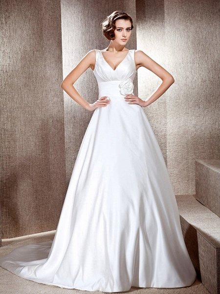 Princess A-Line Wedding Dresses V Neck Cathedral Train Satin Sleeveless_1