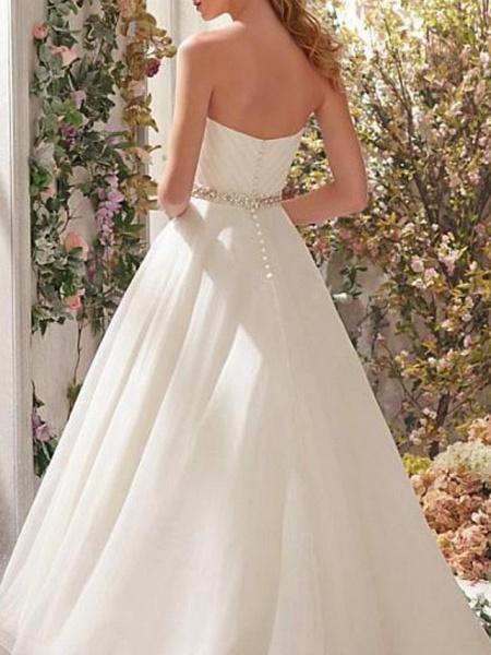 A-Line Wedding Dresses Strapless Sweep \ Brush Train Asymmetrical Organza Sleeveless Simple Vintage 1950s_3