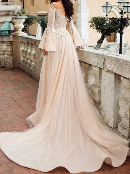 A-Line Wedding Dresses V Neck Court Train Chiffon Lace Tulle Long Sleeve Formal_2