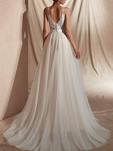 A-Line Wedding Dresses V Neck Sweep \ Brush Train Tulle Regular Straps_3