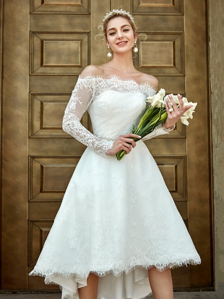 A-Line Wedding Dresses Off Shoulder Asymmetrical Lace Long Sleeve Casual Plus Size Illusion Sleeve_12
