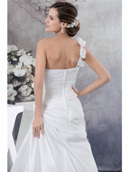 A-Line Wedding Dresses One Shoulder Court Train Satin Spaghetti Strap_5