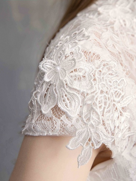 Ball Gown Wedding Dresses High Neck Floor Length Lace Tulle Lace Over Satin Short Sleeve Vintage Illusion Sleeve_11