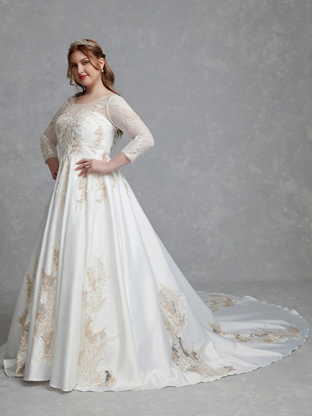 A-Line Wedding Dresses Scoop Neck Court Train Lace Satin Long Sleeve Romantic Glamorous See-Through Illusion Sleeve_3
