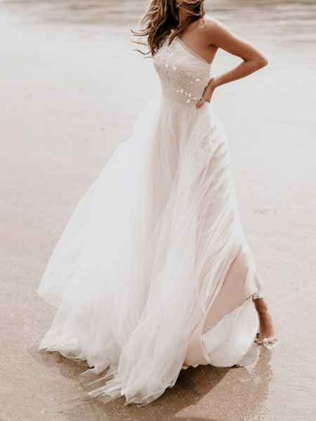 A-Line Wedding Dresses One Shoulder Sweep \ Brush Train Tulle Sleeveless Country Backless_4