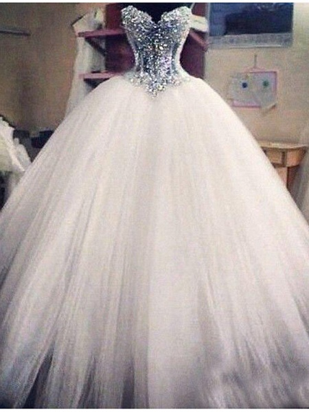 Ball Gown Wedding Dresses Strapless Floor Length Lace Tulle Sleeveless Formal Casual Plus Size_1