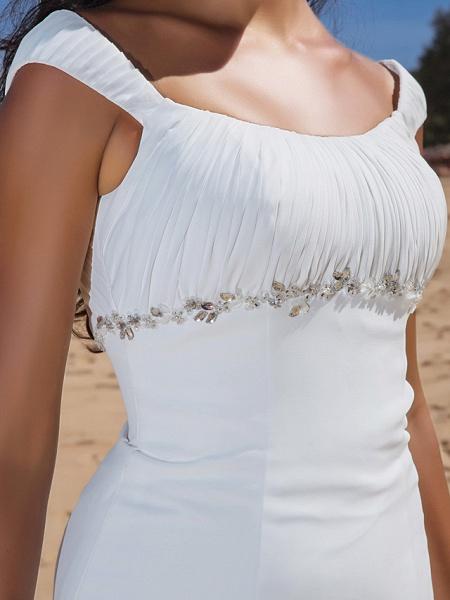 Sheath \ Column Wedding Dresses Scoop Neck Sweep \ Brush Train Chiffon Cap Sleeve Beach Plus Size_7