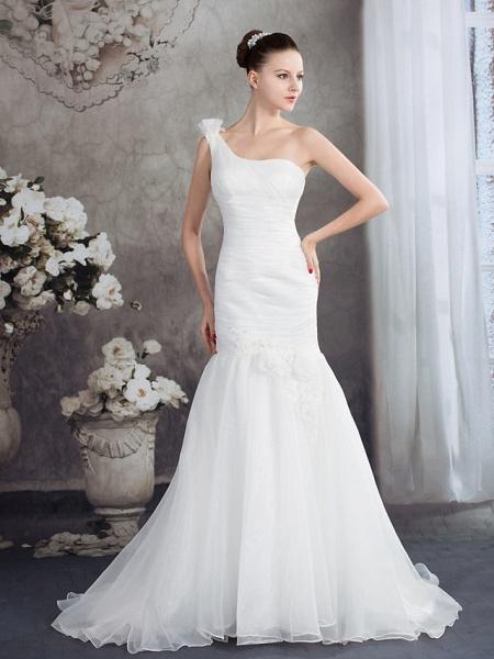 Mermaid \ Trumpet One Shoulder Court Train Organza Spaghetti Strap Wedding Dresses_1