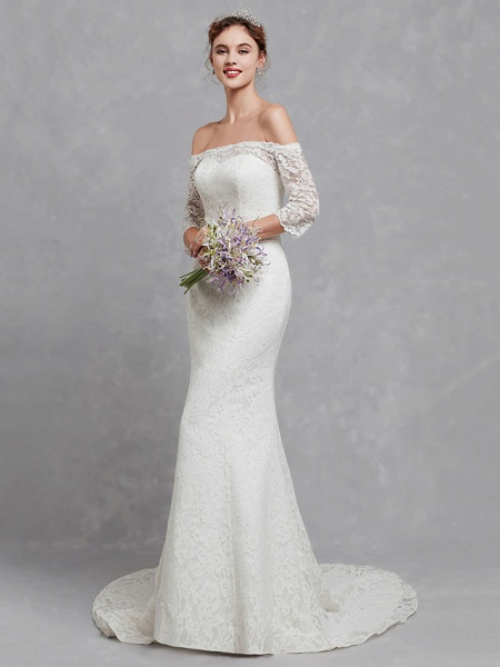 Mermaid \ Trumpet Wedding Dresses Off Shoulder Court Train Lace 3\4 Length Sleeve Cutouts_1