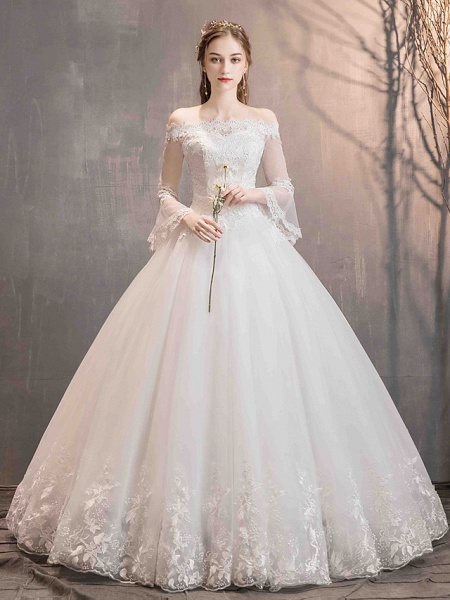 Ball Gown Wedding Dresses Off Shoulder Floor Length Lace Tulle Long Sleeve Romantic Illusion Sleeve_3