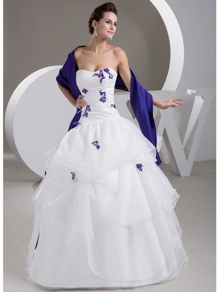 Ball Gown Strapless Floor Length Lace Organza Satin Strapless Casual Vintage Plus Size Wedding Dresses_1
