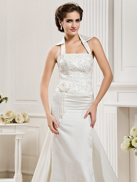 Mermaid \ Trumpet Halter Neck Court Train Satin Sleeveless Wedding Dresses_5