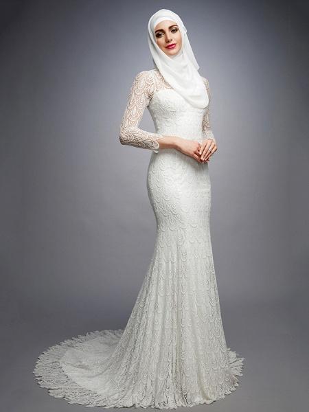 Mermaid \ Trumpet High Neck Court Train Lace Long Sleeve Wedding Dresses_3